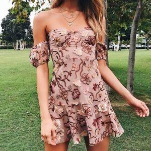 For Love & Lemons botanical off-shoulder dress
